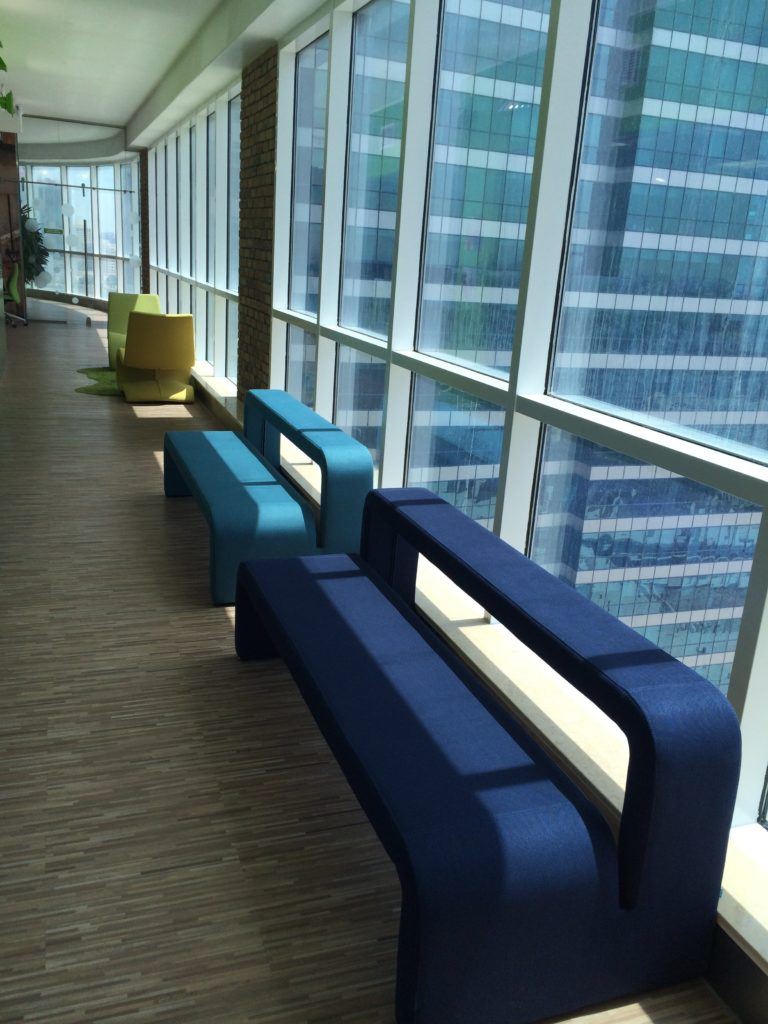 B T Moby Benches And Flow Chairs In This High Rise Office Complex Breakdown Area