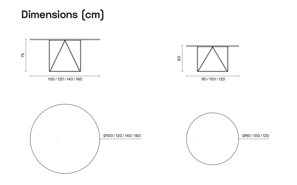 Ray Table Dimensions